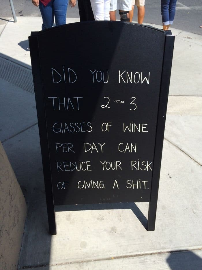 Genius Bars And Restaurants 2 to 3 glasses of wine reduces your risk