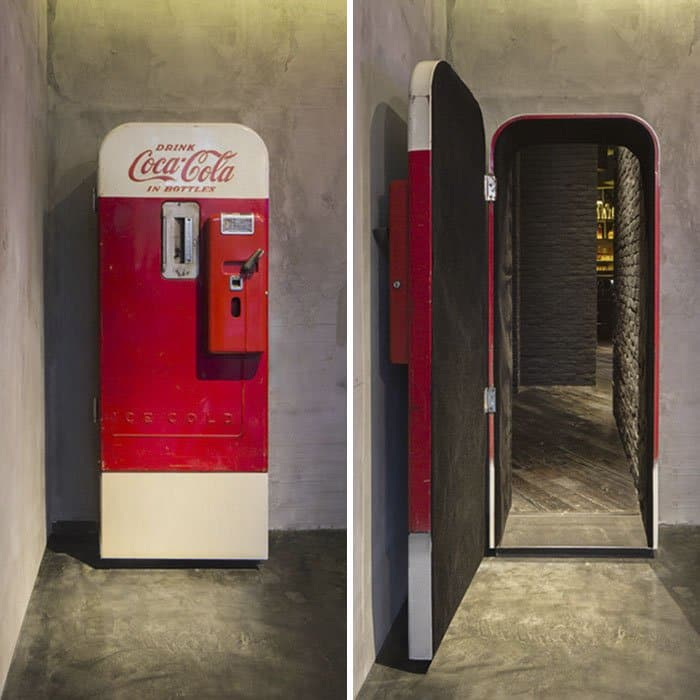 Genius Bars And Restaurants bar hidden behind coca cola machine