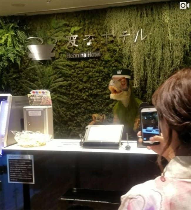Genius Japanese Inventions robot dinosaur check in