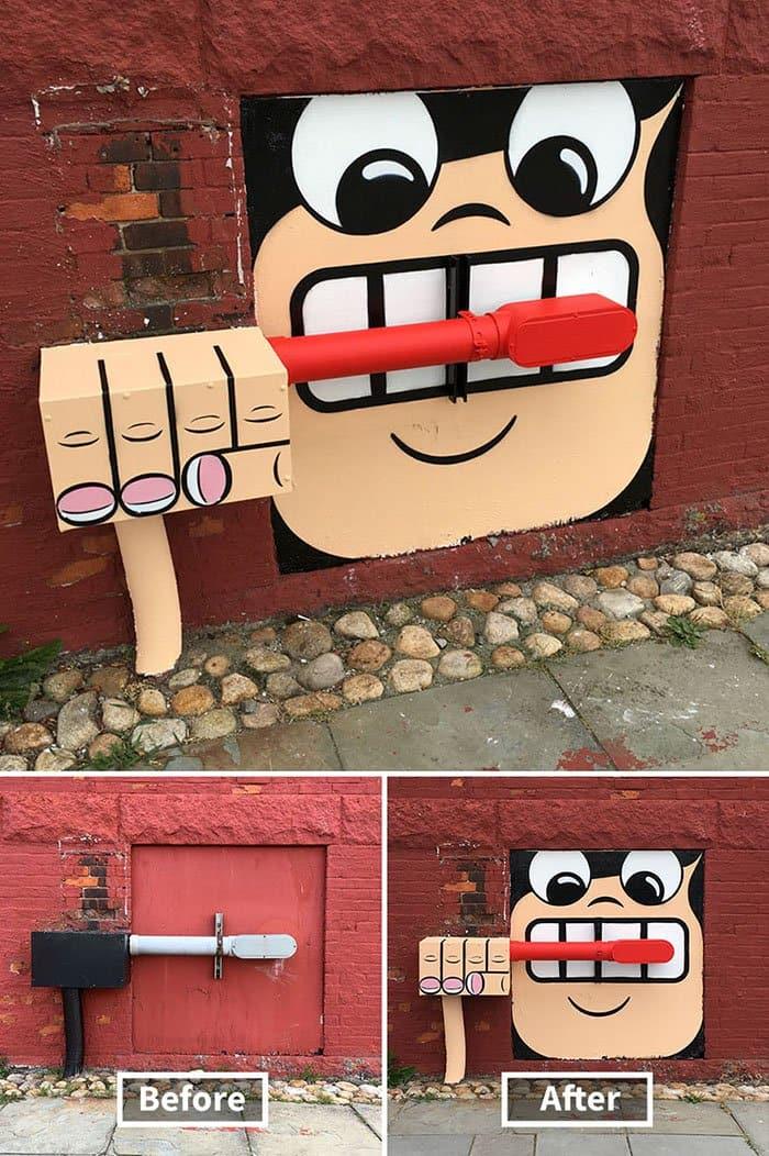 Genius Street Artist brushing teeth