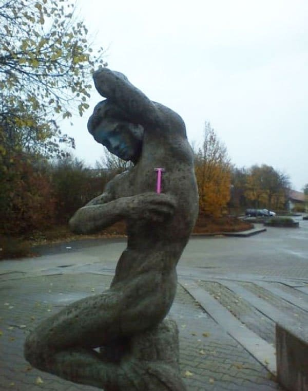Genius Vandalism sculpture shaving