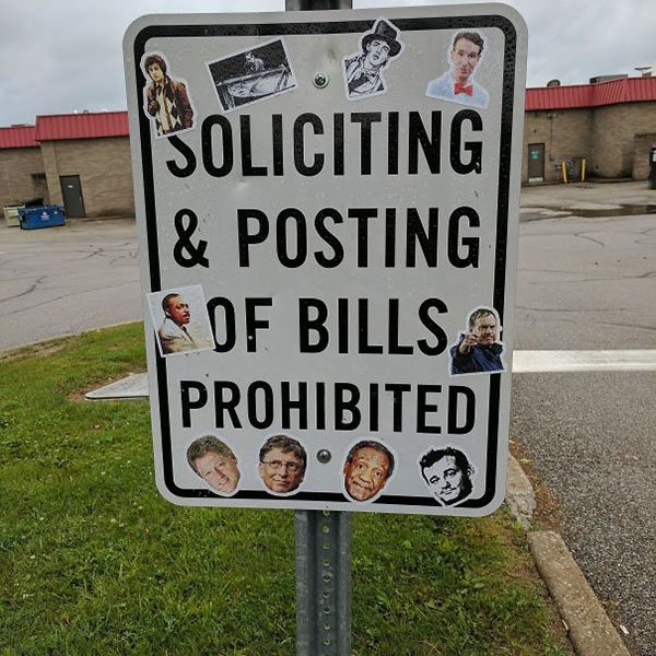 Genius Vandalism soliciting and posting of bills prohibited