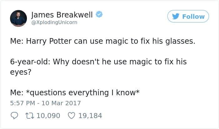 Hilarious Parenting Tweets harry potter fix his eyes