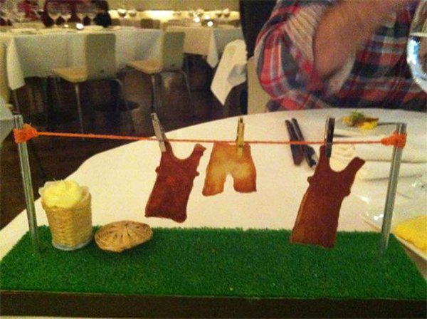 Hipster Restaurants Went Too Far With Food Serving chips on a washing line