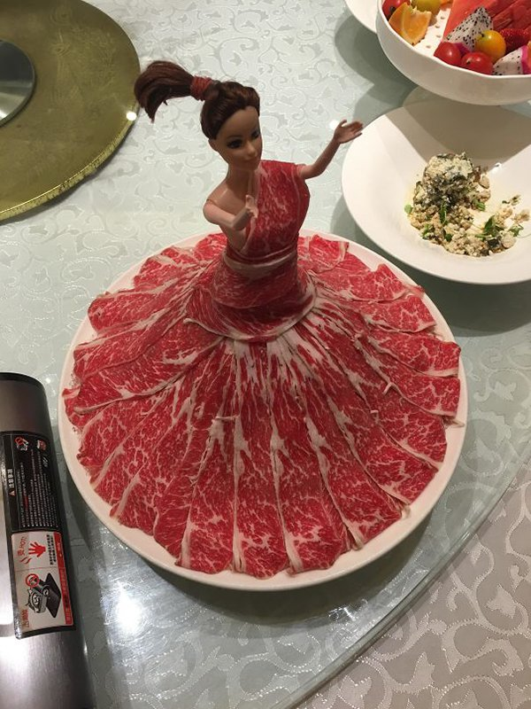 Hipster Restaurants Went Too Far With Food Serving meat served on barbie doll