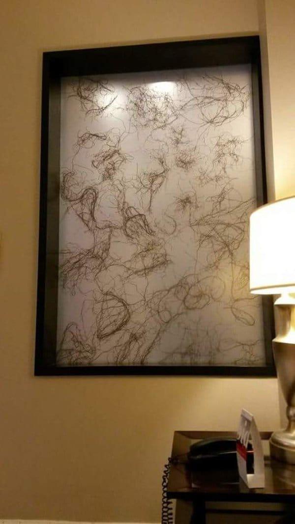 Hotel Fails art that looks like hair