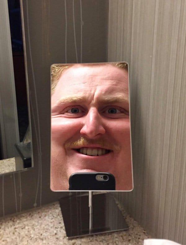 Hotel Fails funny bathroom mirror