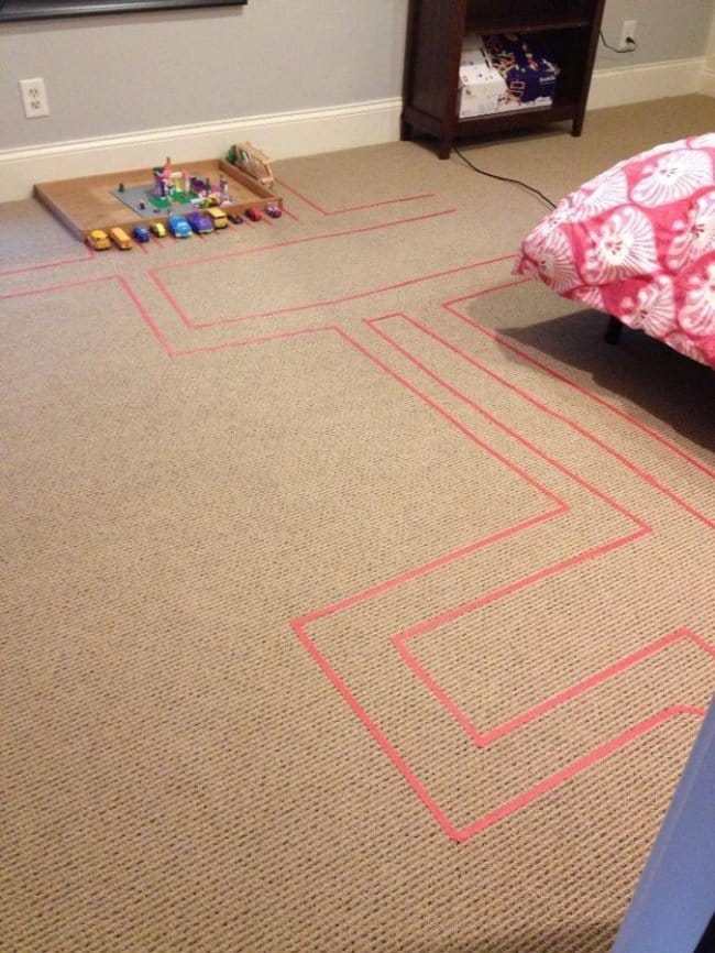 How To Keep Kids Entertained scotch tape car tracks