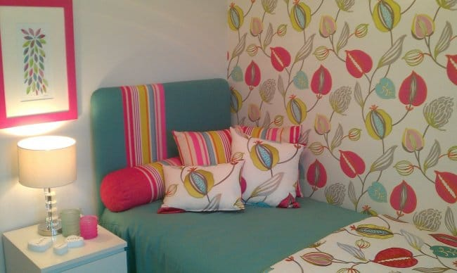 How To Make A Small Bedroom Cozy patterned wallpaper