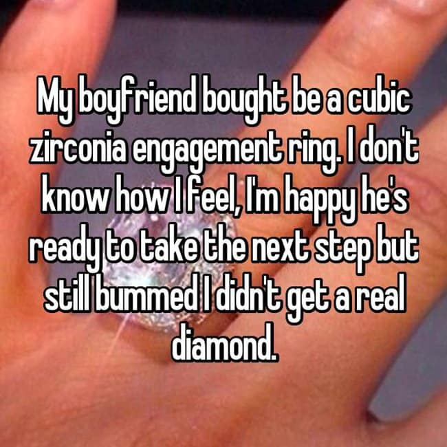 How Women Feel About Fake Engagement Rings bummed no diamond