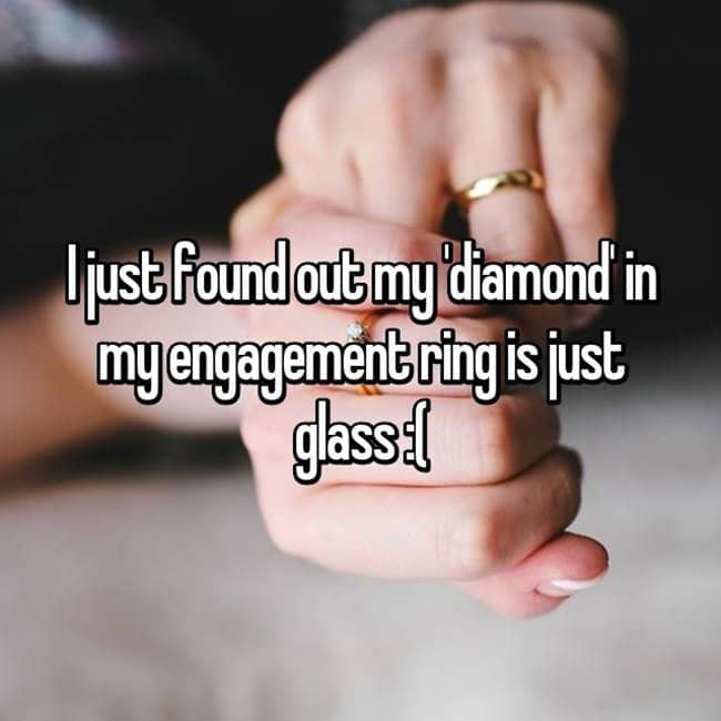 How Women Feel About Fake Engagement Rings just glass