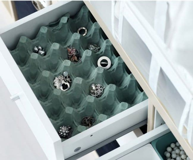 Ideas For Where To Store Things egg carton in drawer