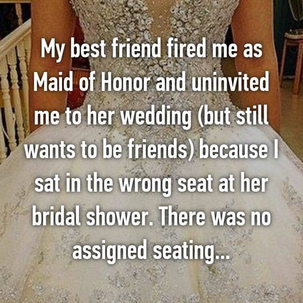 Shocking Reasons People Were Uninvited From Weddings fired me as maid of honor