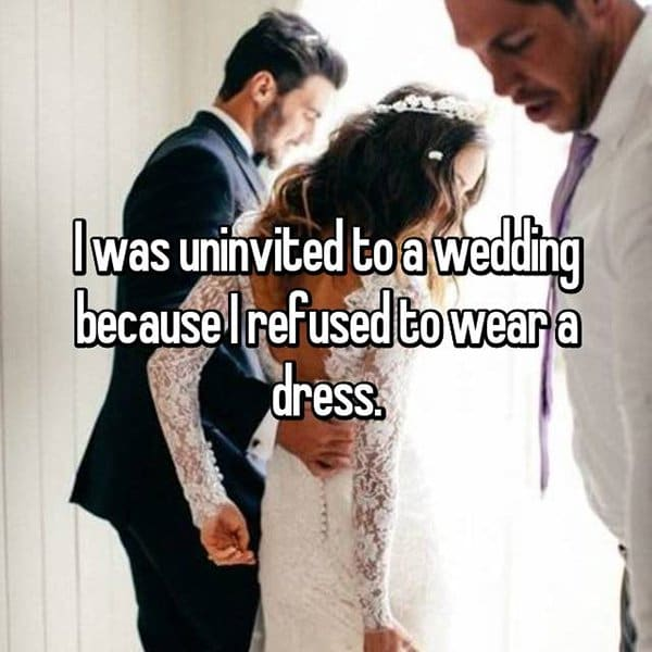 Shocking Reasons People Were Uninvited From Weddings refused to wear a dress