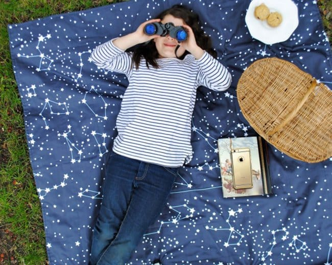Space Themed Interior Design Ideas constellation blanket