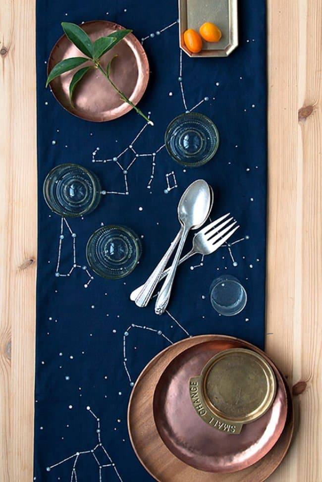 Space Themed Interior Design Ideas constellation table runner