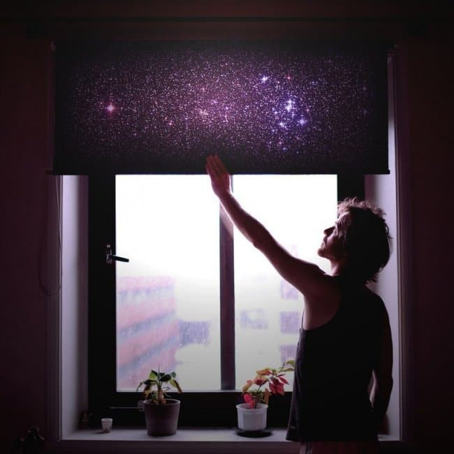 Space Themed Interior Design Ideas galaxy blinds