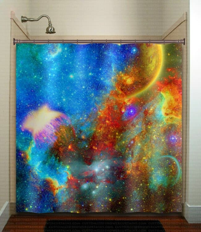 Space Themed Interior Design Ideas nebula shower curtain