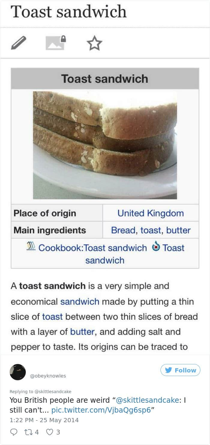 Times Americans Were Surprised And Confused By British Things toast sandwhich