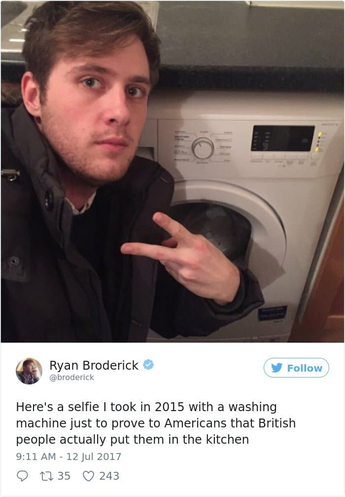 Times Americans Were Surprised And Confused By British Things washing machine in kitchen