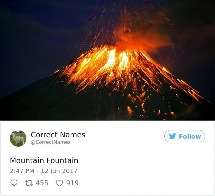 Twitter Account Renames Everyday Objects mountain fountain