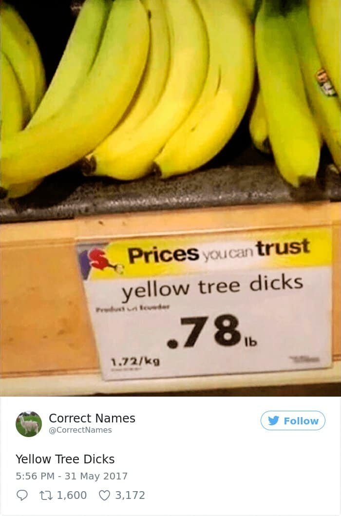 Twitter Account Renames Everyday Objects yellow tree dicks