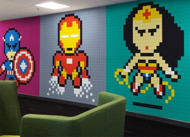 Wall Art Ideas super hero pixels