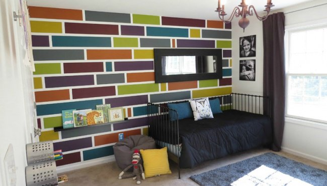 Wall Art Ideas tiles and tape