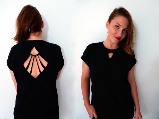 Ways To Transform An Old T-shirt geometrical cut