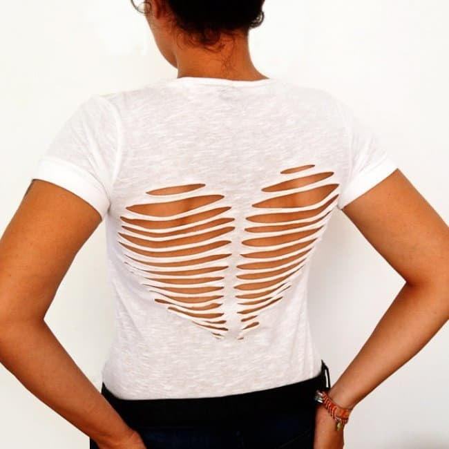 Ways To Transform An Old T-shirt heart cut out
