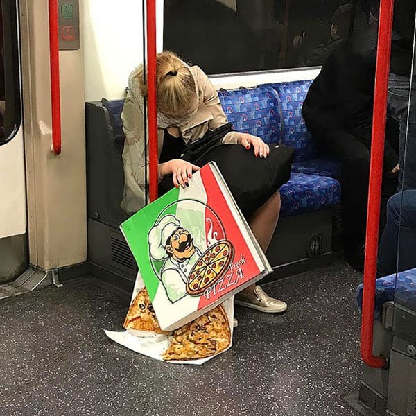 Weirdest People Ever Spotted On The Subway 8 am pizza sliding