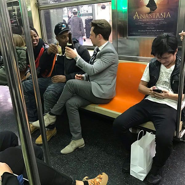 Weirdest People Ever Spotted On The Subway bottle of wine rolled out