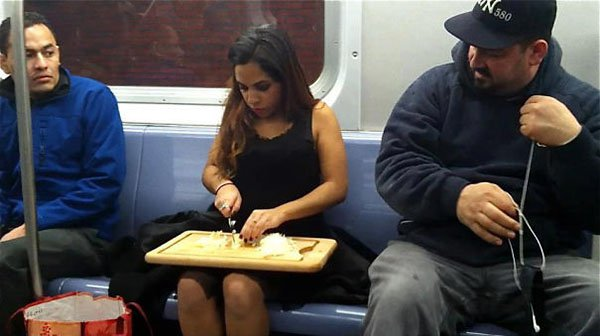 Weirdest People Ever Spotted On The Subway chopping food