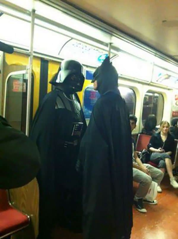 Weirdest People Ever Spotted On The Subway darth vader vs batman