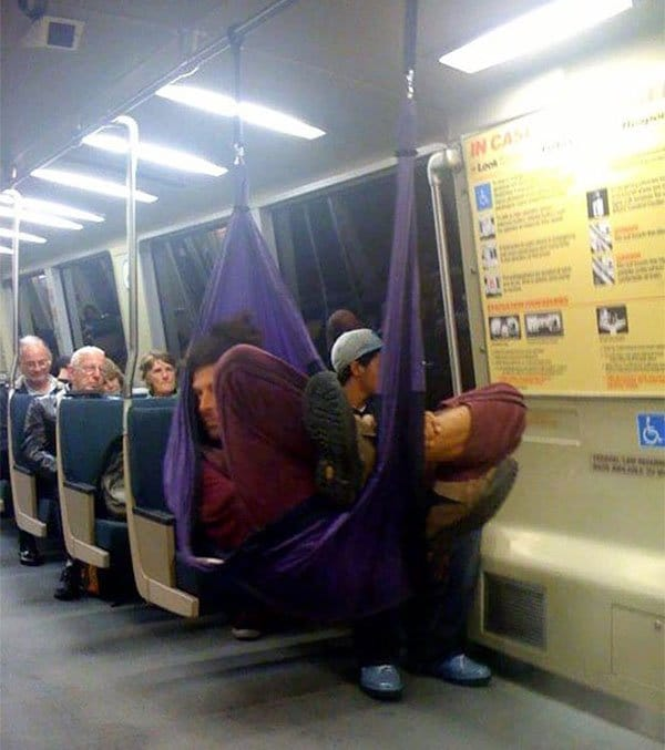 Weirdest People Ever Spotted On The Subway guy set up hammock