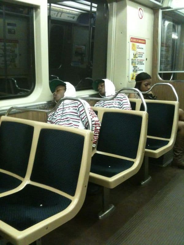 Weirdest People Ever Spotted On The Subway identical people sleeping