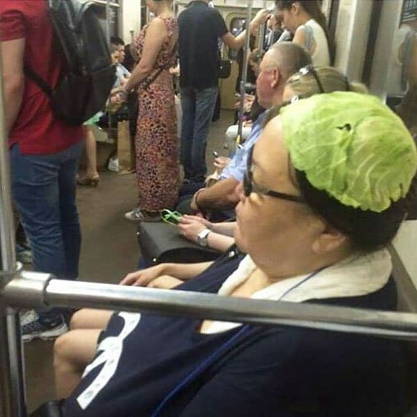 Weirdest People Ever Spotted On The Subway lettuce hat