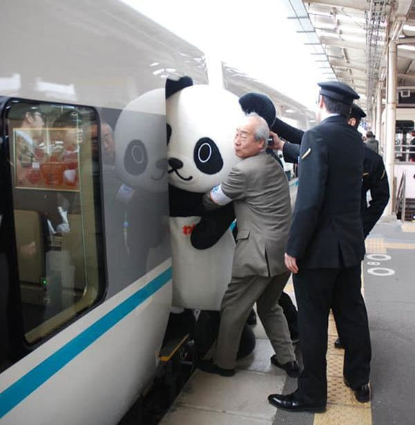 Weirdest People Ever Spotted On The Subway pushing panda on