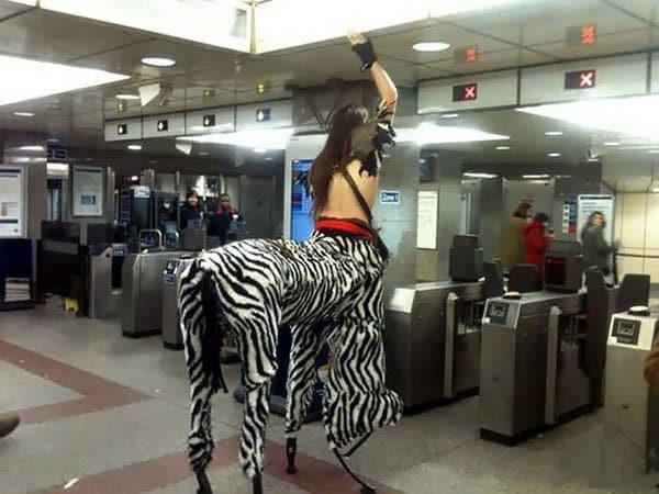 Weirdest People Ever Spotted On The Subway zebrataur