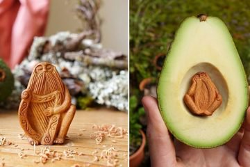 artist carves avocado pits