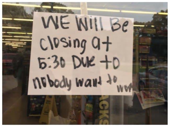 Amusing Jokes closing because no one wants to work
