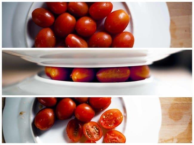 Brilliant Kitchen Tricks cut cherry tomatoes