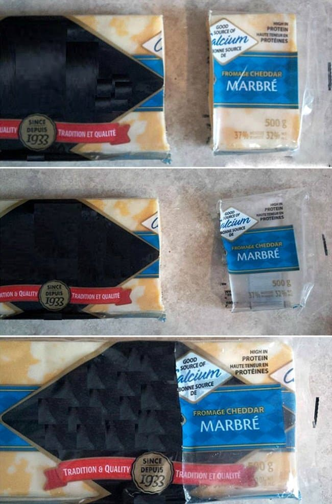 Brilliant Kitchen Tricks cut off cheese packaging
