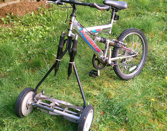 Clever Inventions Made By Kids bicycle grass cutter