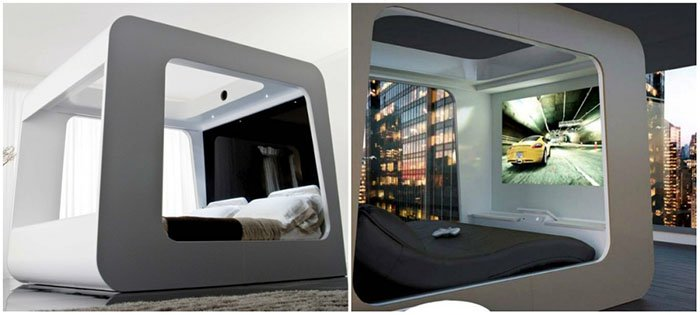 Creative And Comfy Looking Beds built in tv