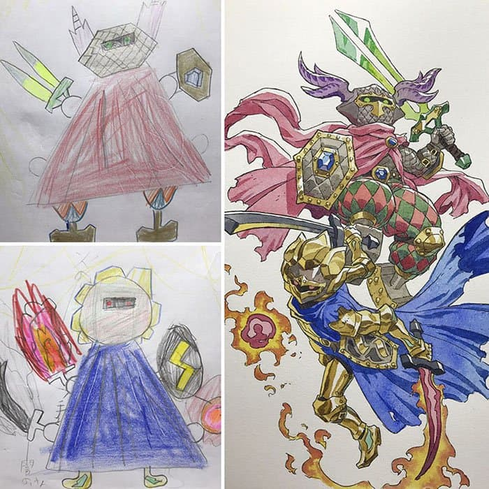 Dad Turns His Son's Drawings Into Anime Characters double
