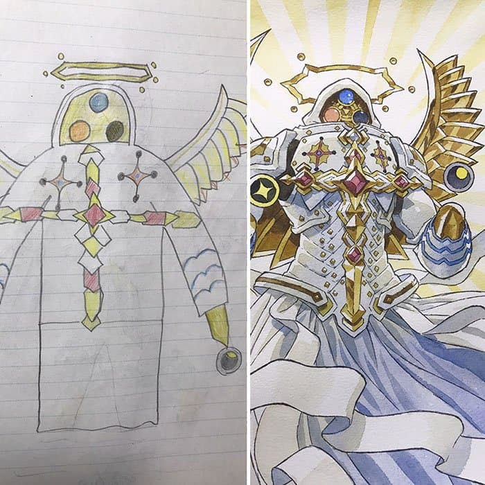 Dad Turns His Son's Drawings Into Anime Characters halo
