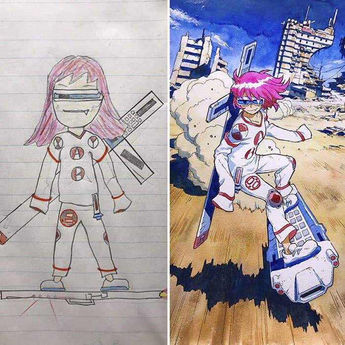 Dad Turns His Son's Drawings Into Anime Characters hoverboard
