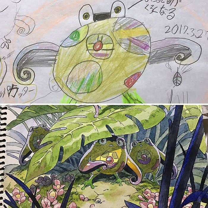 Dad Turns His Son's Drawings Into Anime Characters jungle creatures