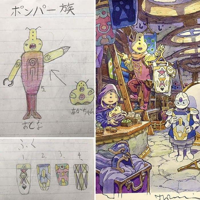 Dad Turns His Son's Drawings Into Anime Characters multiple characters